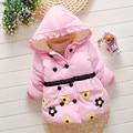 2016 Primavera Flor de Impressão Jaqueta Infantil Para Meninas Dos Desenhos Animados Unisex Casaco de Lã Com Capuz Roupa do bebê da Alta Qualidade Crianças Outwear