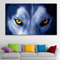 1 Pcs Forest Eye Wolf Animals Modern Art Nature Picture For Home Decoration Silk Canvas Fabric Print Poster Unframed