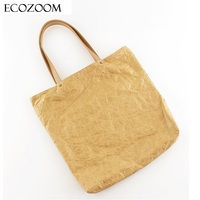 Europe Women Retro Kraft Paper Casual Tote Female Wrinkled Shoulder Bag Simple Solid Canvas Shopping Bag