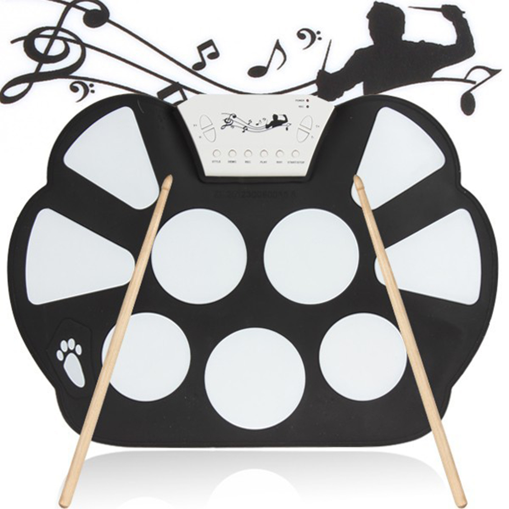 new portable 9 pad drum roll up drum kit music instruments practice fun free shipping in drum. Black Bedroom Furniture Sets. Home Design Ideas
