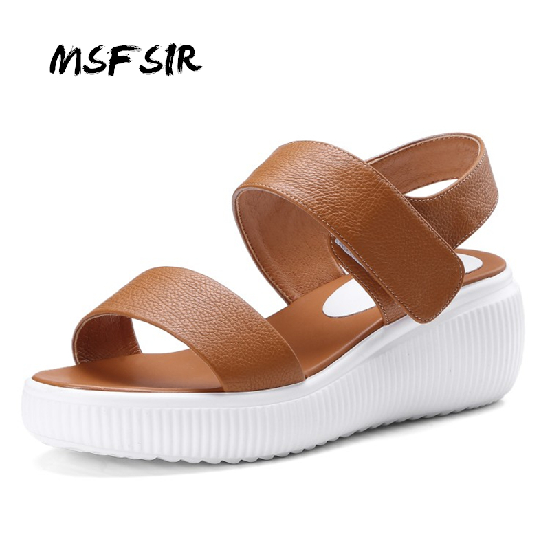 MsFair Summer White Fashion Womans Sandals Exposed Toe Wedges Casual Shoes Women Genuine Leather Large size Thick Sandals new women sandals low heel wedges summer casual single shoes woman sandal fashion soft sandals free shipping