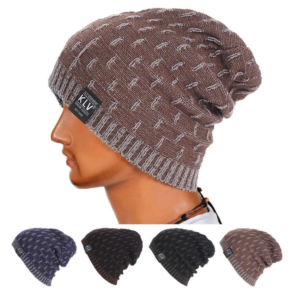 2018 new Men Warm Crochet Winter Wool   Skullies     Beanie   Fall Hat Thick and Warm Hat Knit Ski   Beanie   Skull Slouchy Caps Hat