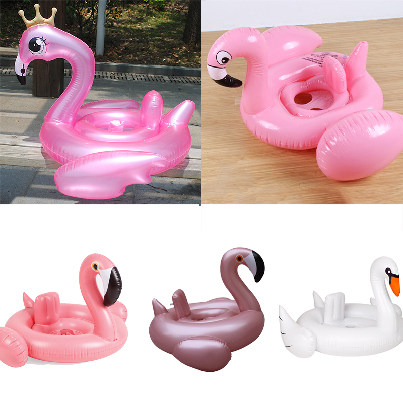 Baby Flamingo Ride-on Swimming Ring Inflatable Swan Pool Float For Kids Summer Water Toys Safety Seat Beach Lounger boia Piscina