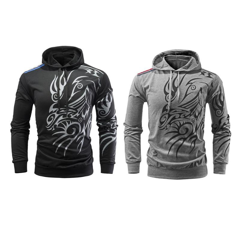 2018 Hot sale M-3XL Winter Autumn Hoodie Men Fashion Hip Hop Dragon Prints Hooded Casual Sweatshirt Long Sleeve Pullover