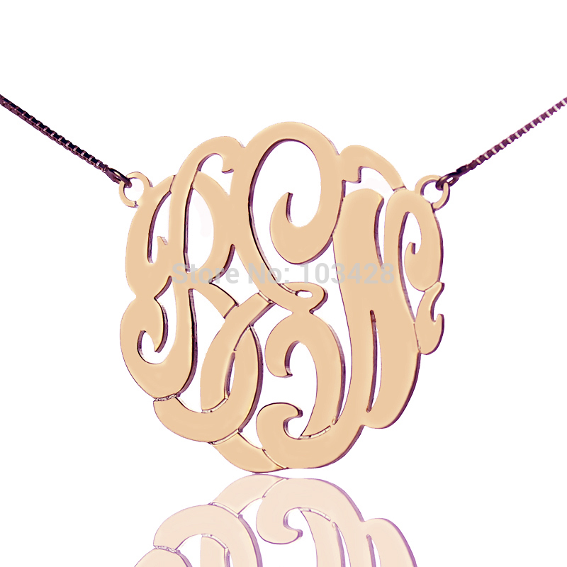 где купить Personalized Monogram Necklace Rose Gold Color Custom Monogrammed Name Necklace 3 Initials Jewelry по лучшей цене