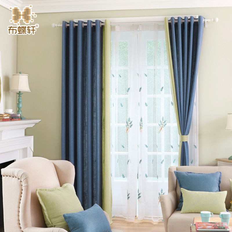 Blue And Yellow Kitchen Curtains: New Arrival Modern Simple Solid Blue And Yellow Linen