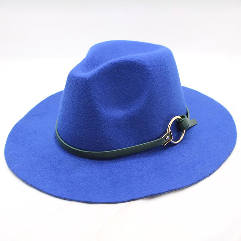 d4d8b20c86f89 Fashion Women Wool Felt Trilby Fedora Hat with Leather Belt Winter Autumn  Lady Wide Brim Church
