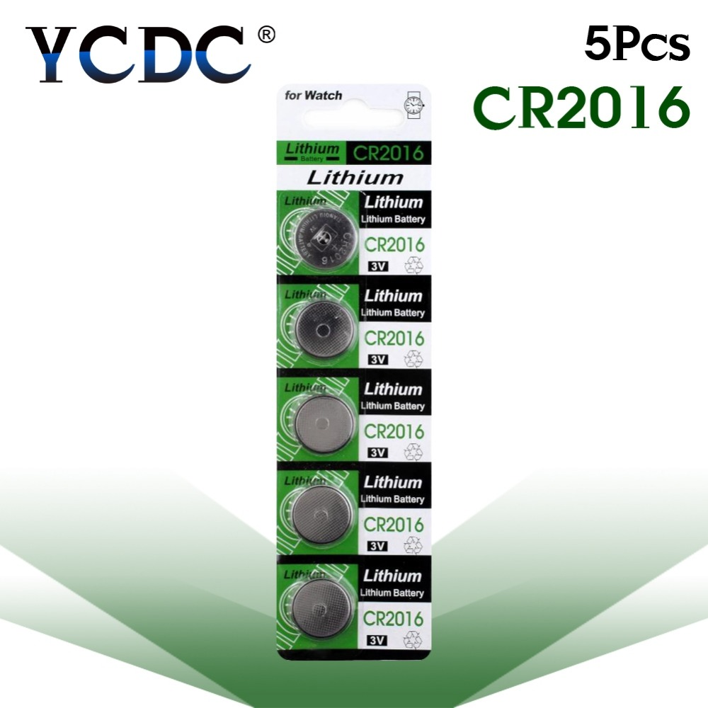 цена на Cheap 11.11 sale Real Power Button battery 5 Pcs 3V Lithium Coin Cells Button Battery DL2016 KCR2016 CR2016 LM2016 BR2016 sale