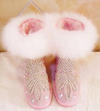 купить Luxury Rhinestone Snow Boots 2018 Womens Winter Bling Bling Crystal Flats Ankle Boots Rubber Sole Warm Fur Winter Short Boots по цене 5939.31 рублей