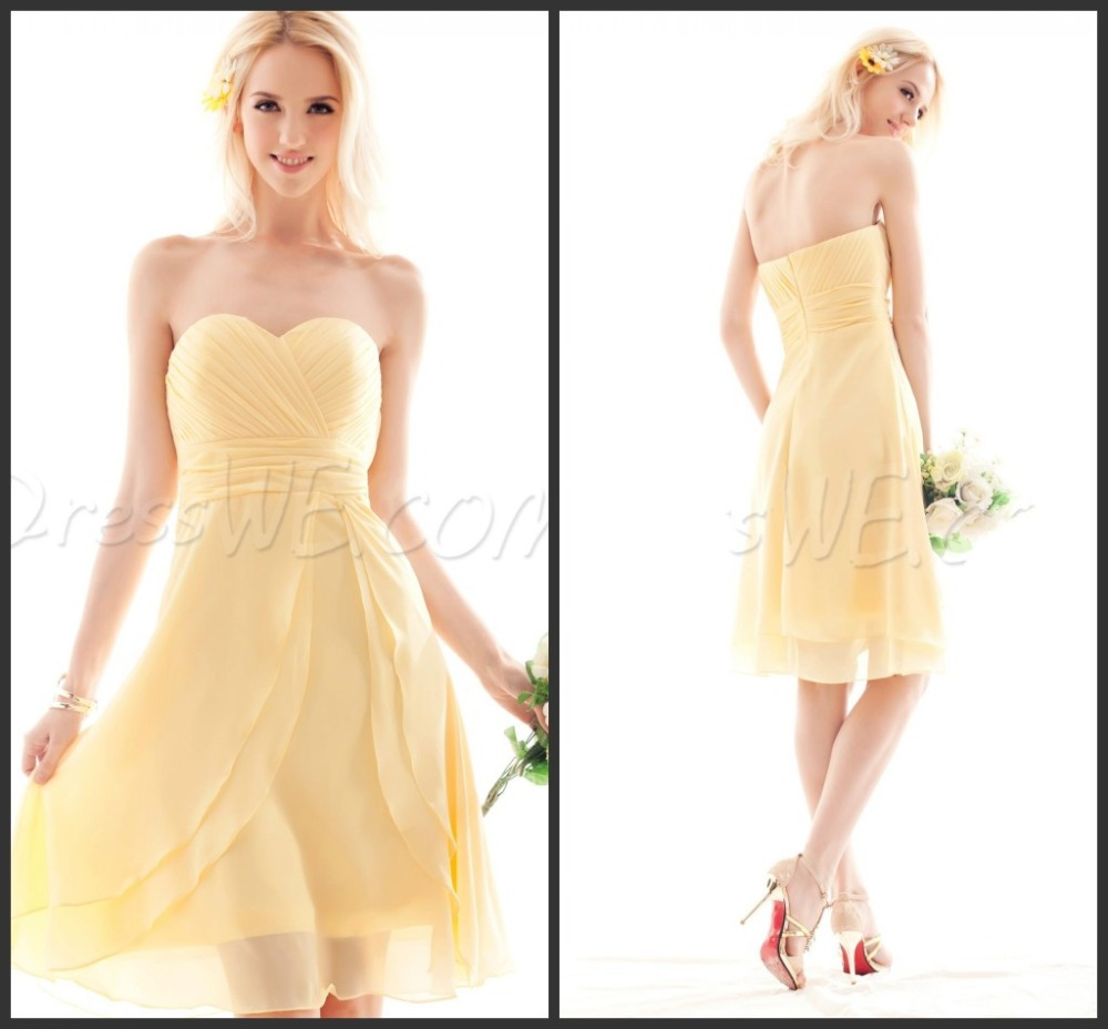 free shipping women vestido de festa longo casamento 2016 new fashionable sweetheart sexy yellow short party   Bridesmaid     Dresses