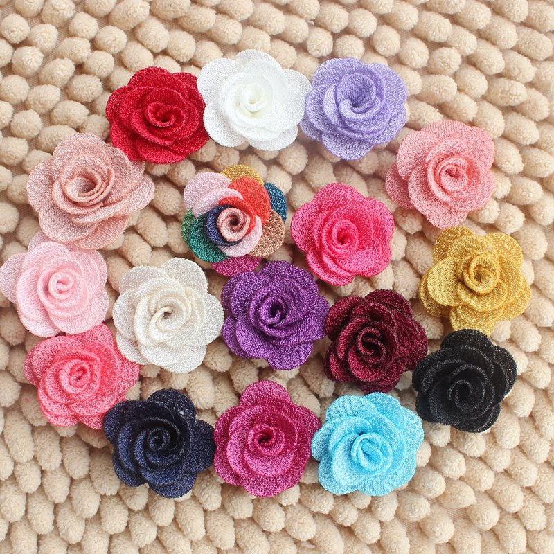 Wholesale 4cm Mini Burlap Flowers Felt Back Fabric Rosettes DIY Flowers For Hair Accessories Girl Headbands 120ps/lot