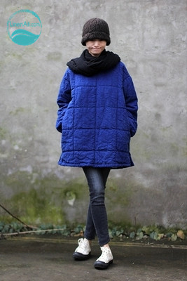 LinenAll women's super 100% linen blue straight loose o-neck pullover thermal wadded jacket cotton-padded jacket female yijiu linenall com clothing winter women 100% linen o neck batwing sleeve loose long warm cotton wadded robe gown female yijiu