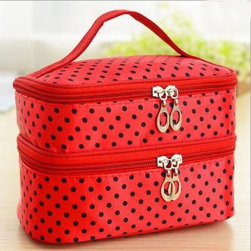 Multifunctional make up cosmetic bag travel organizer Zipper Bags Portable Double layer Dots Makeup Storage Case Toiletry Bags-in Storage Boxes & Bins from Home & Garden