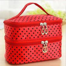 Multifunctionele make up cosmetic bag travel organizer Rits Zakken Draagbare Dubbele laag Dots Make Storage Case Toilettassen