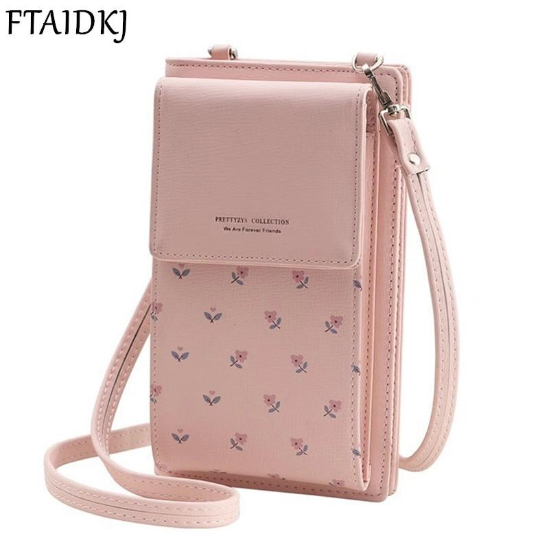 FTAIDKJ Universal Multifunction Women Wallet PU Leather Phone Bag Case For iPhone Samsung Remi OPPO ViVO Huawei Crossbody bag