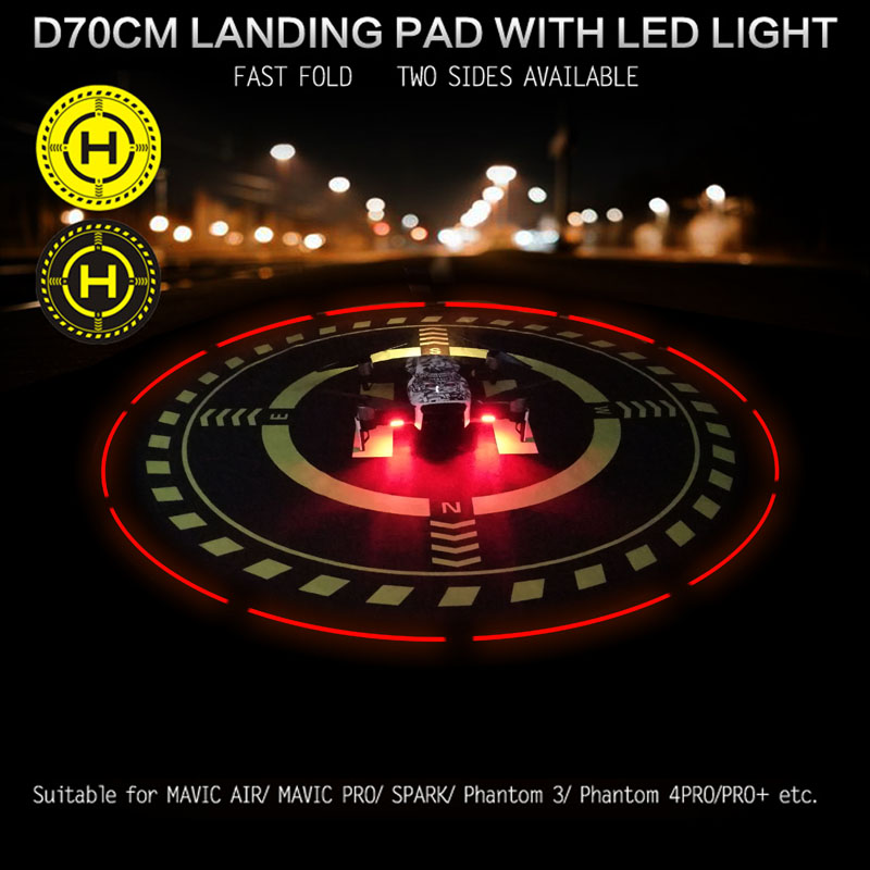 Portable Pad D70cm Helipad Foldable Landing Field with Lighting for DJI drones