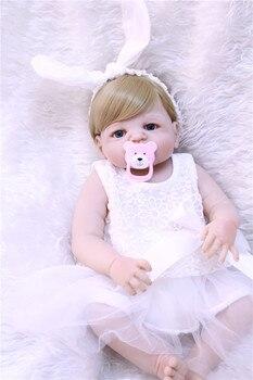 Full silicone reborn baby dolls 22inch 55cm real newborn girl bebe alive reborn bonecas can bathe kids toy doll reborn