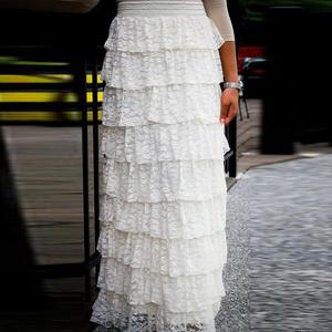 39e312de0c WDPL White Lace Tulle Skirt Long Skirt Ruffles Skirts Women