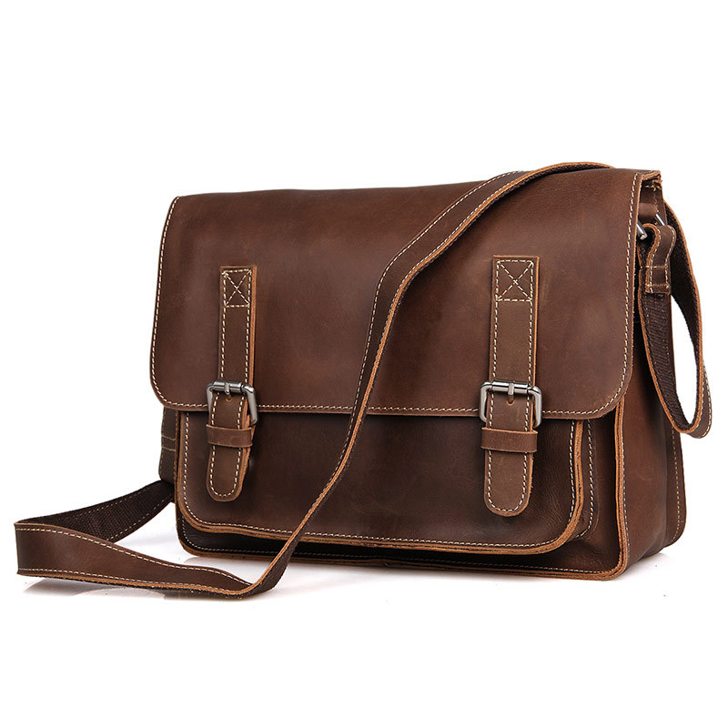Hot Selling Mens Bags Brown Color Genuine Leather Shoulder Bag Crazy Horse Leather Men Messenger Bags Crossbody Bags #MD-J7089