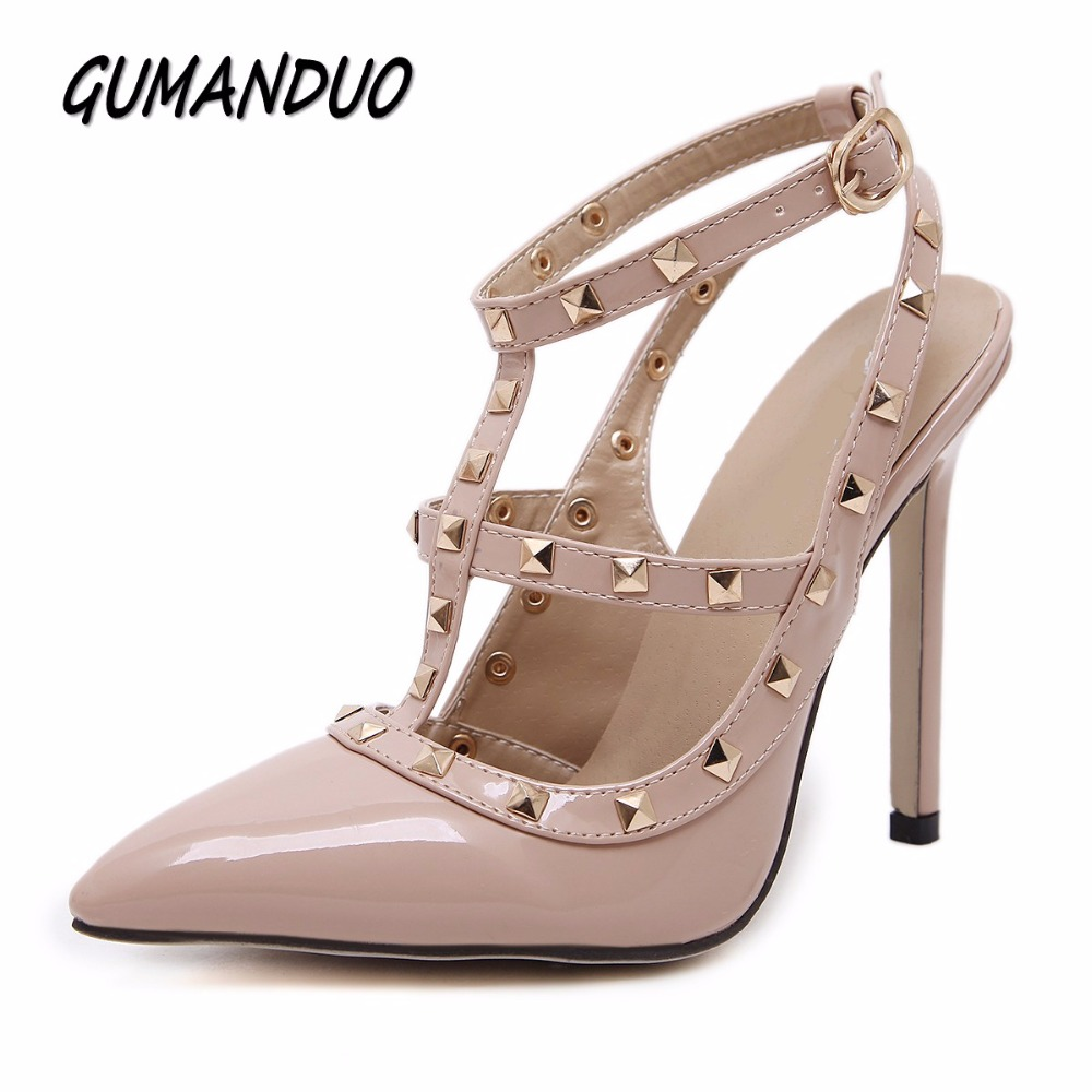 GUMANDUO New women pumps summer fashion sexy rivets pointed toe wedding party high heeled shoes woman sandals size 35-41 2017 new summer women flock party pumps high heeled shoes thin heel fashion pointed toe high quality mature low uppers yc268