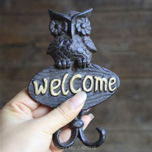 Primitive Heavy Cast Iron -Wise Owl Welcome Wall Hook