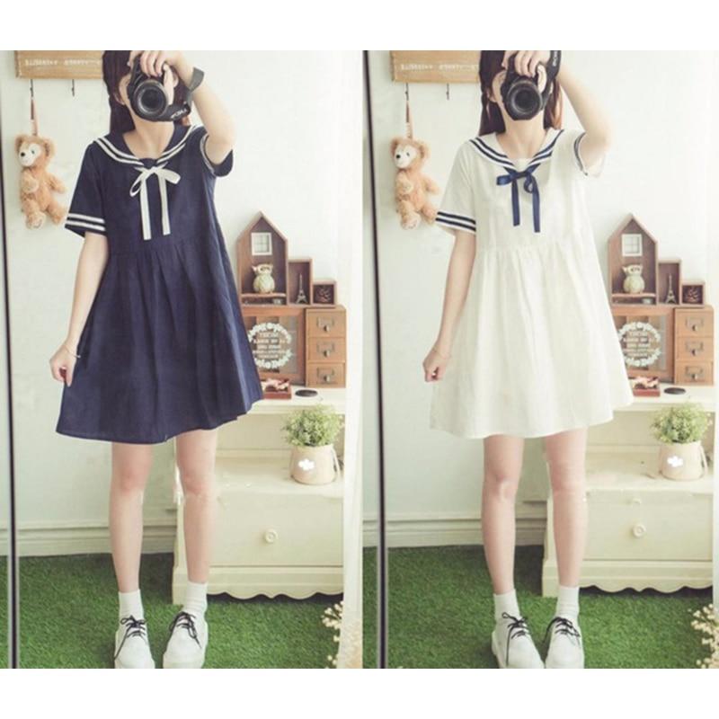 Summer Girl Cartoon Blue White Sailor Collar Dresses School Uniform Girls Preppy Cute Tie Short Sleeve Casual Dress