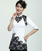 Spring Summer New White Chinese Women S Cotton Shirt Sexy Lace Flower Blouse Half Sleeve Dripping