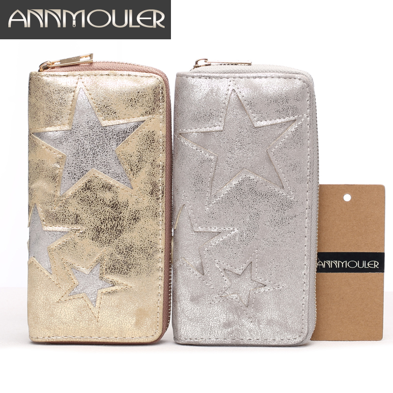 Annmouler Women Wallet High Quality Coin Purse Wallets Long Size Zipper Clutch Bag Star Patchwork Large  Business Card Holder nawo real genuine leather women wallets brand designer high quality 2017 coin card holder zipper long lady wallet purse clutch