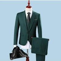 2020 Slim Fit One Button свадебный смокинг лучшие мужские вечерние зеленые костюмы мужские s Мужская рубашка в полоску (куртка + брюки + жилет)