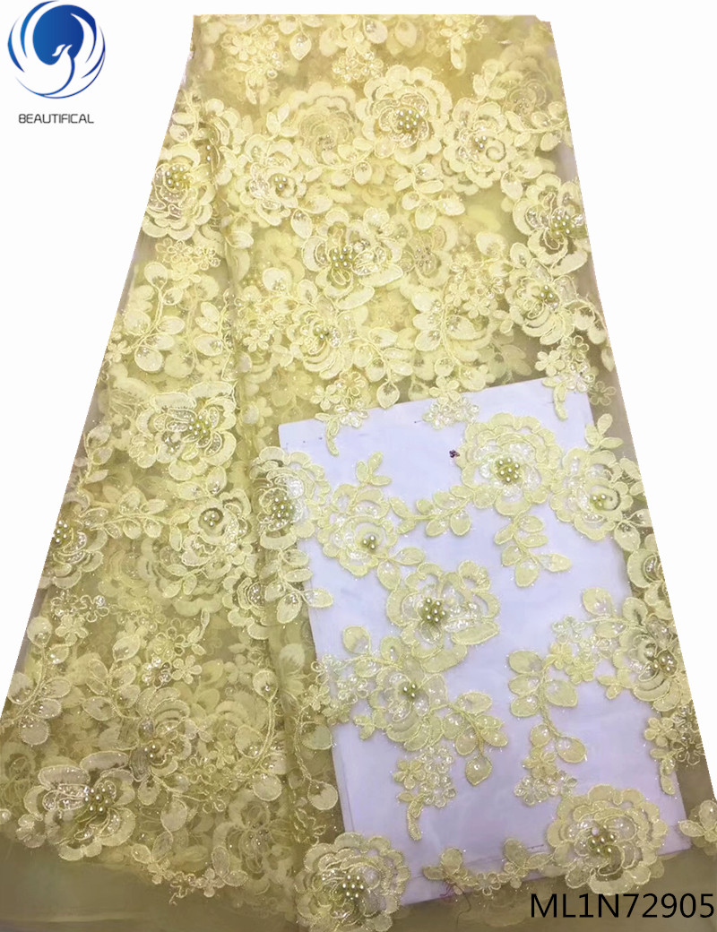 Beautifical net laces fabrics with beads and stones 2019 yellow african lace dress french laces for wedding 5yards ML1N729Beautifical net laces fabrics with beads and stones 2019 yellow african lace dress french laces for wedding 5yards ML1N729