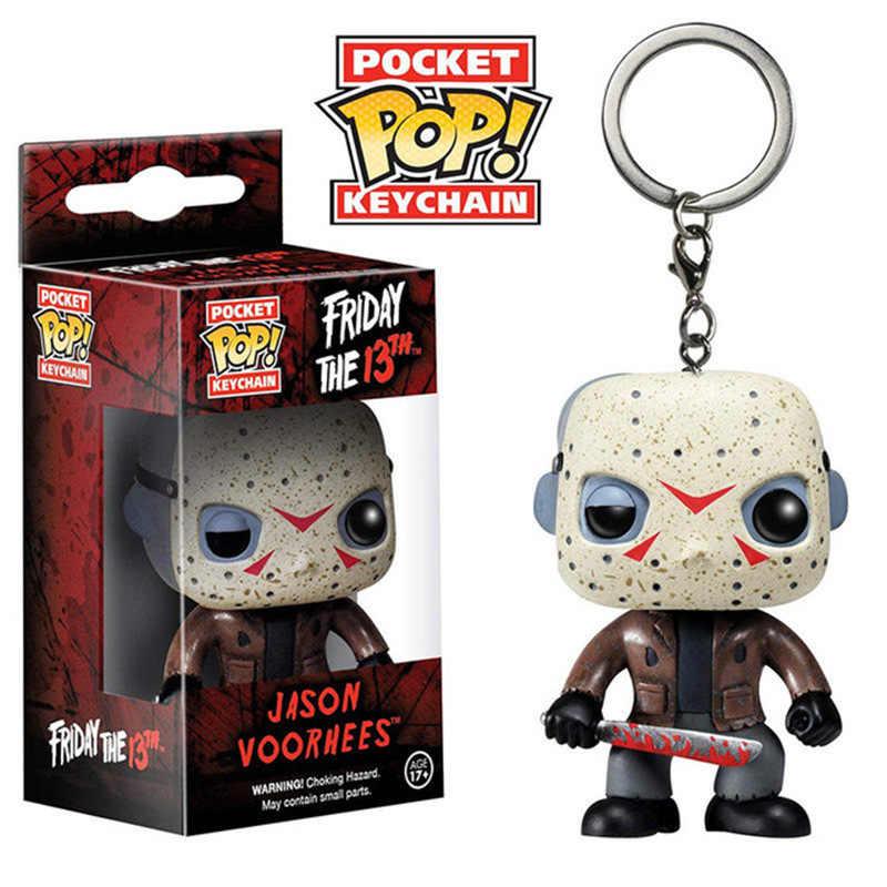 FUNKO POP Bolso Keychain Pop Oficial Jason Voorhees Friday the 13th Action Figure Collectible Modelo Brinquedos para Presente de Aniversário