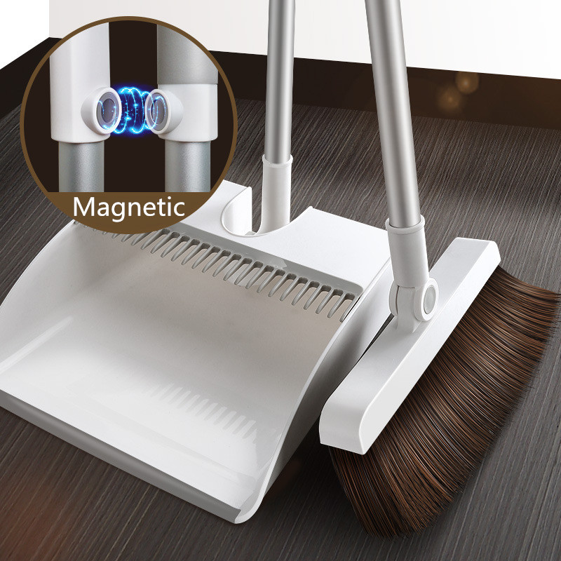 Thicken Windproof Non Slip Magnetic Broom Dustpan Suit Creative Combination Floor Hair Sweeping Handle Household Cleaning Tools|Brooms & Dustpans| |  - title=