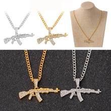 Hip hop Neck Gold Rose Plated Pistol Uzi Gun Pendants & Necklaces Chain Necklace for Men Women Party Accessories(China)