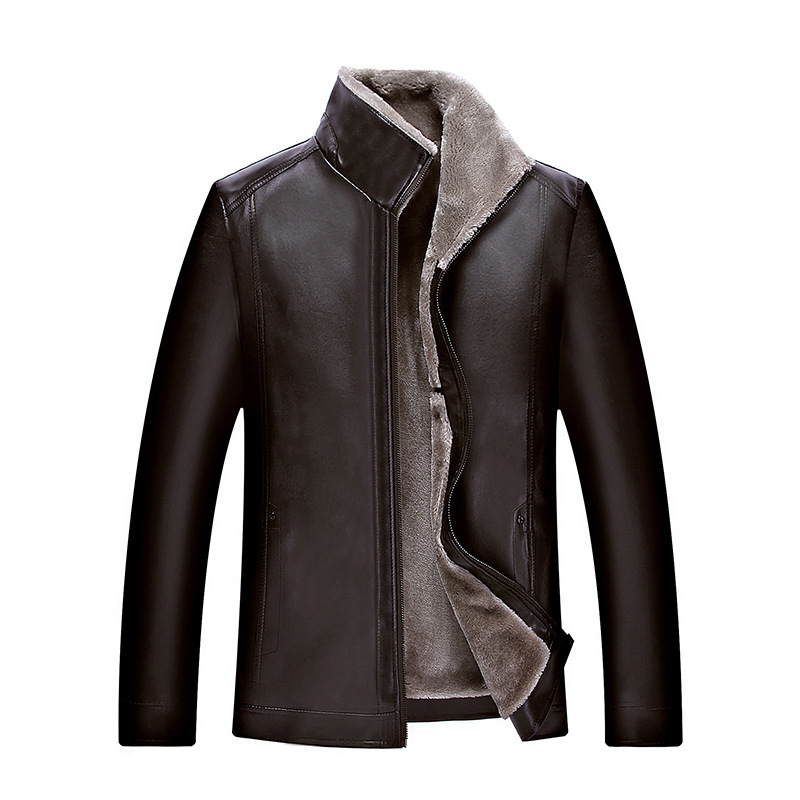2019 <font><b>fur</b></font> one artificial leather <font><b>men</b></font> <font><b>shirt</b></font> middle-aged plus velvet leather jacke <font><b>Men</b></font> <font><b>winter</b></font> fashion new thick warm leather jacket image