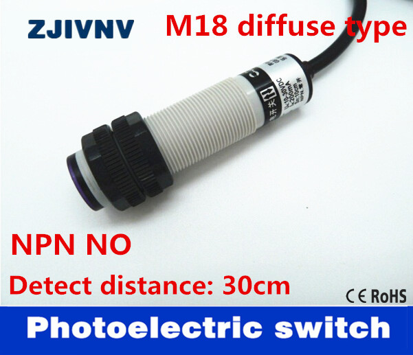 M18 diffuse reflection type NPN NO <font><b>DC</b></font> <font><b>3</b></font> wire photoelectric switch normally open sensor distance <font><b>5</b></font>-30cm adjustable G18-3A30NA image