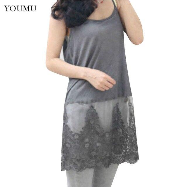 cf6d16c0810 US $15.35 36% OFF|Women Extender Camisole Tank Slip Top Dress Trim Layer  Long Vest Lace Dress Long Lace Strap Vest Dress 200 A597-in Dresses from ...