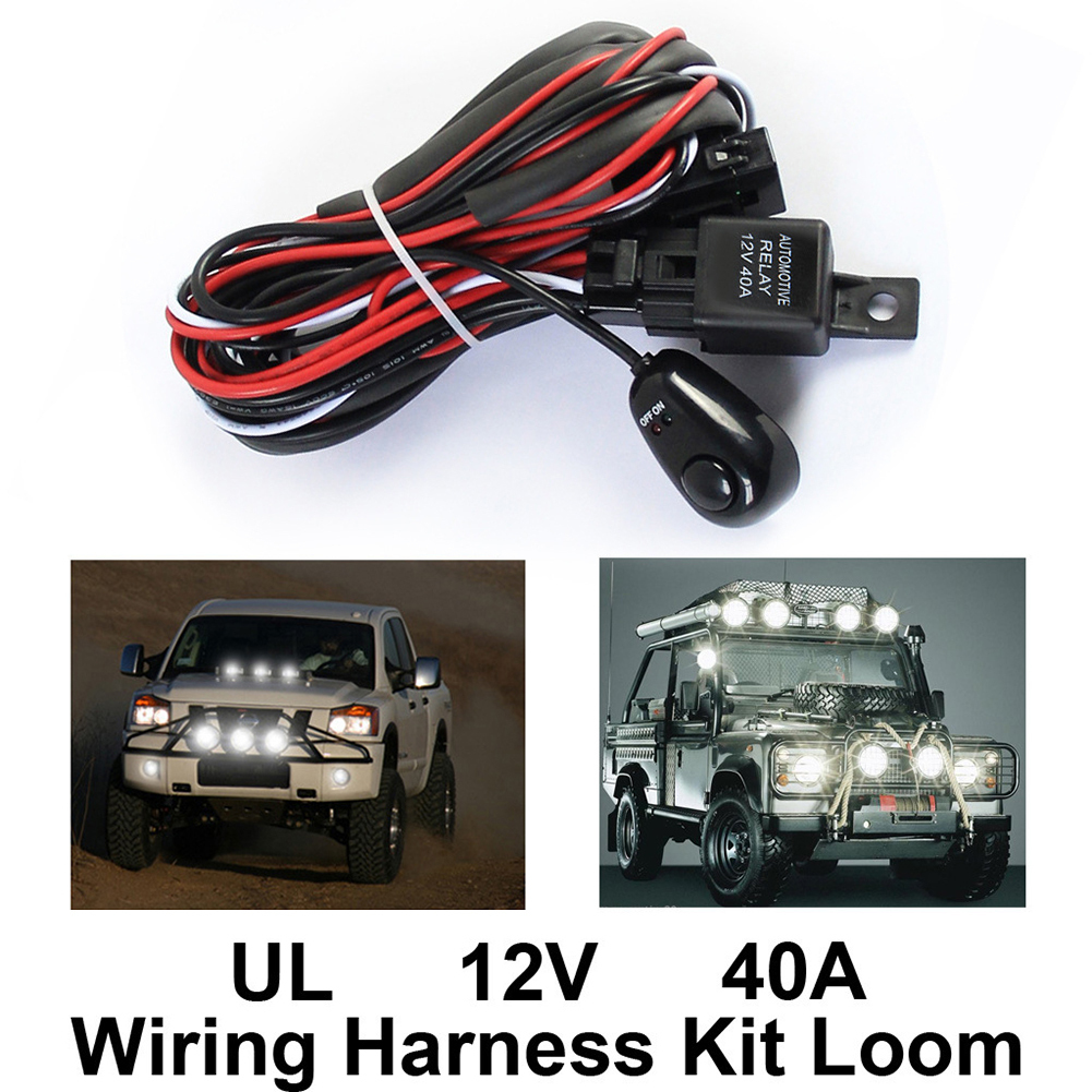 Universal Car Fog Light Wiring Harness Kit Loom For LED Work Driving Light Bar With Fuse And Relay Switch 12V 40A