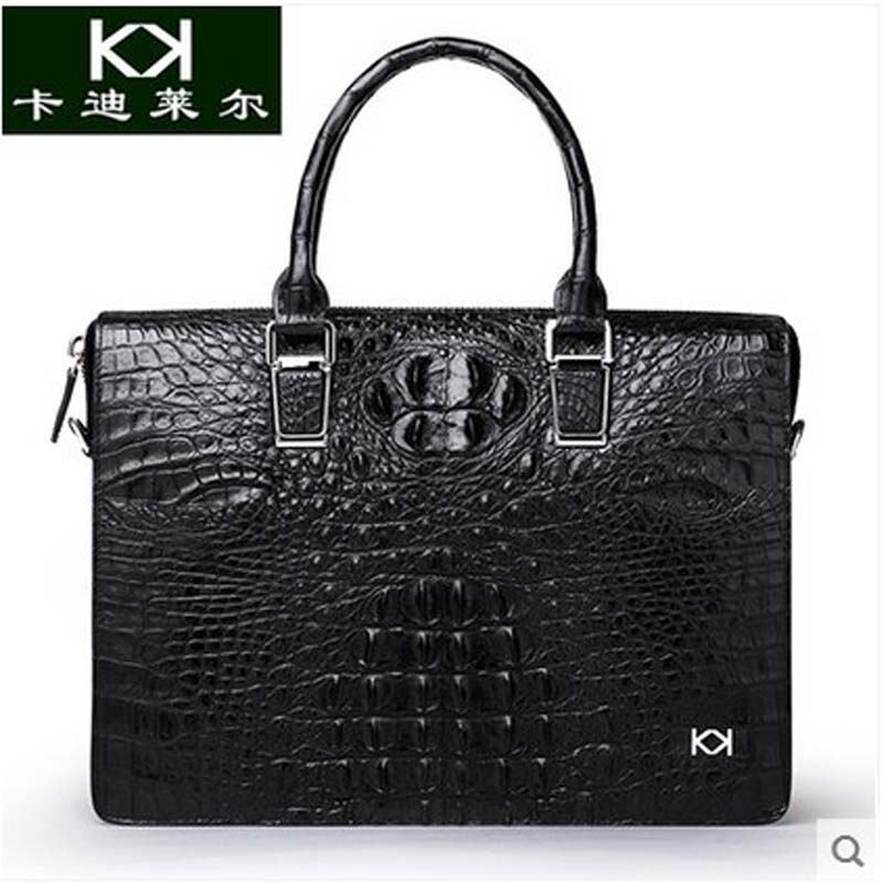 Kadiler crocodile handbag leather men's bags obliquely across business briefcase leisure shoulder bag large capacity business across borders