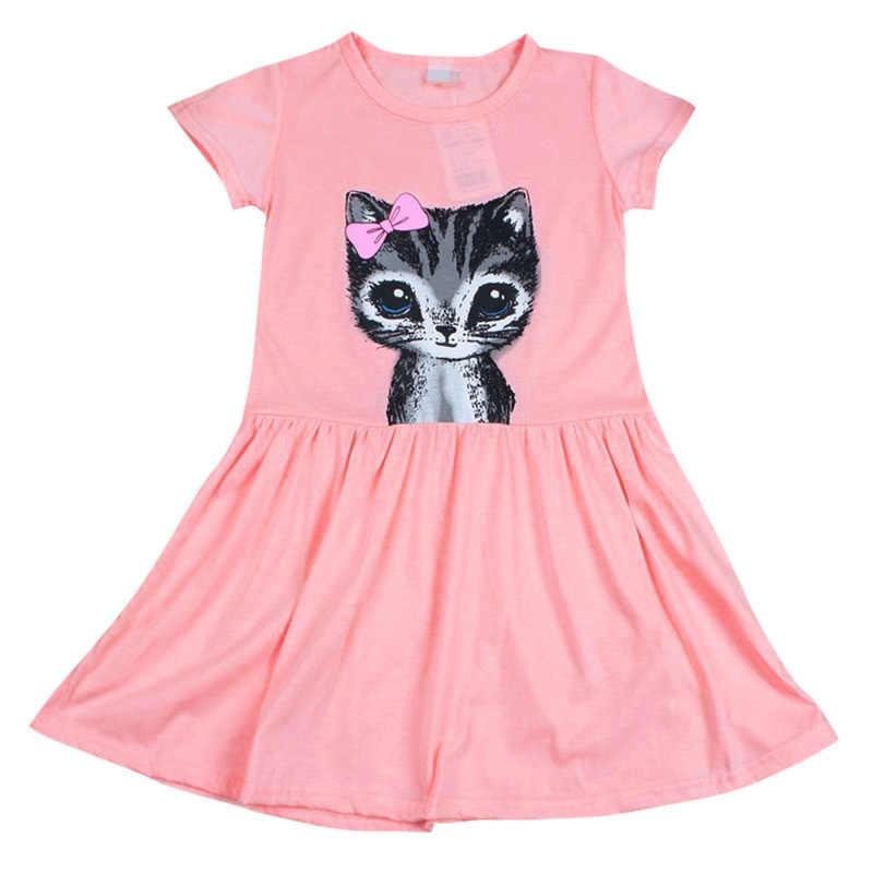 Summer Girl Dress Cat Print Grey Baby Girl Dress Children Clothing Children  Dress 0-8years 560636baa