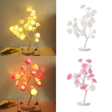 цены Pink White Rose Tree LED Table Lamp Romantic Decoration Night Lights Lamp Bedside Bedroom For Wedding Party Indoor Lighting