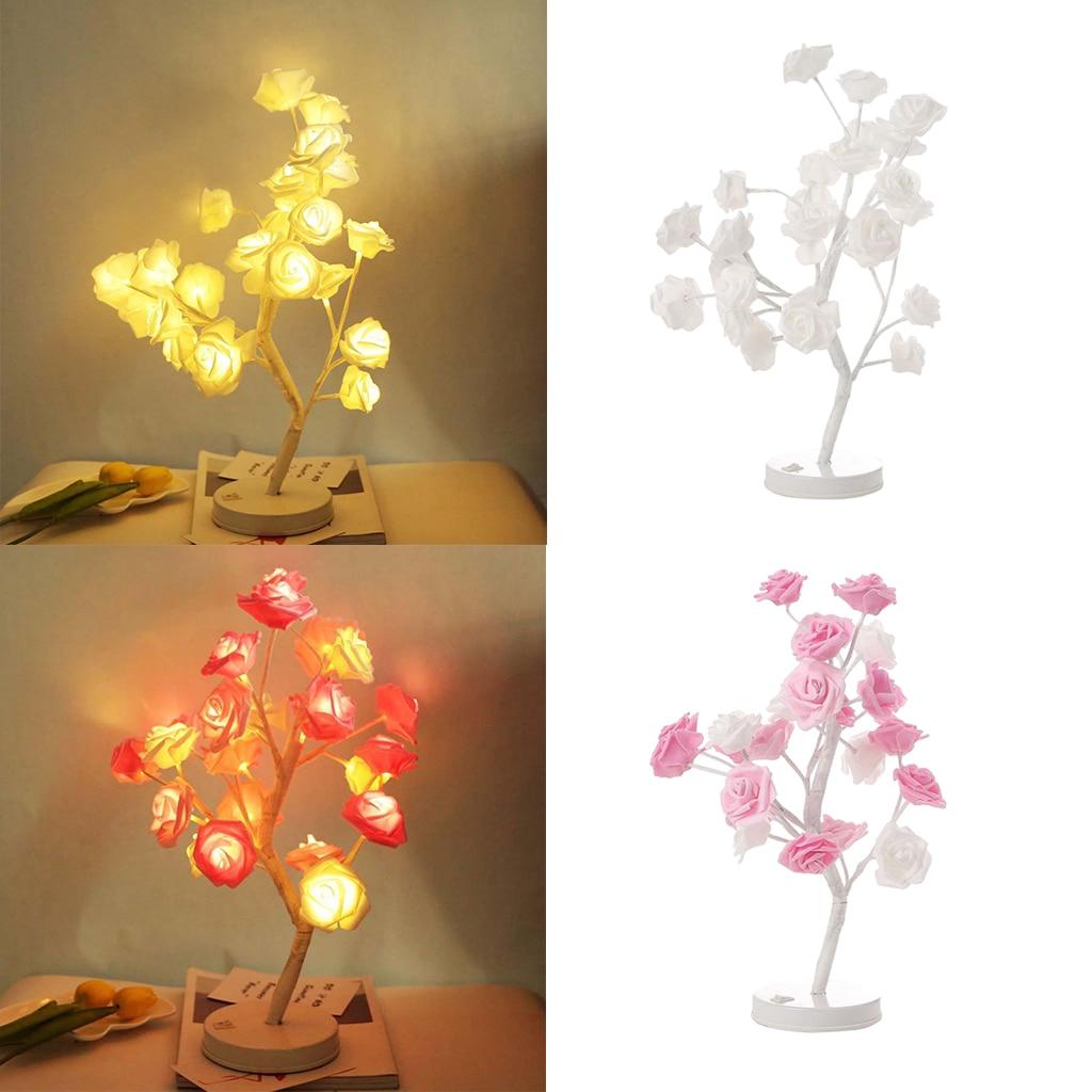 100% Vrai Rose Blanc Rose Arbre Led Lampe De Table Décoration Romantique Nuit Lumières Lampe Chevet Chambre Pour Fête De Mariage éclairage Intérieur