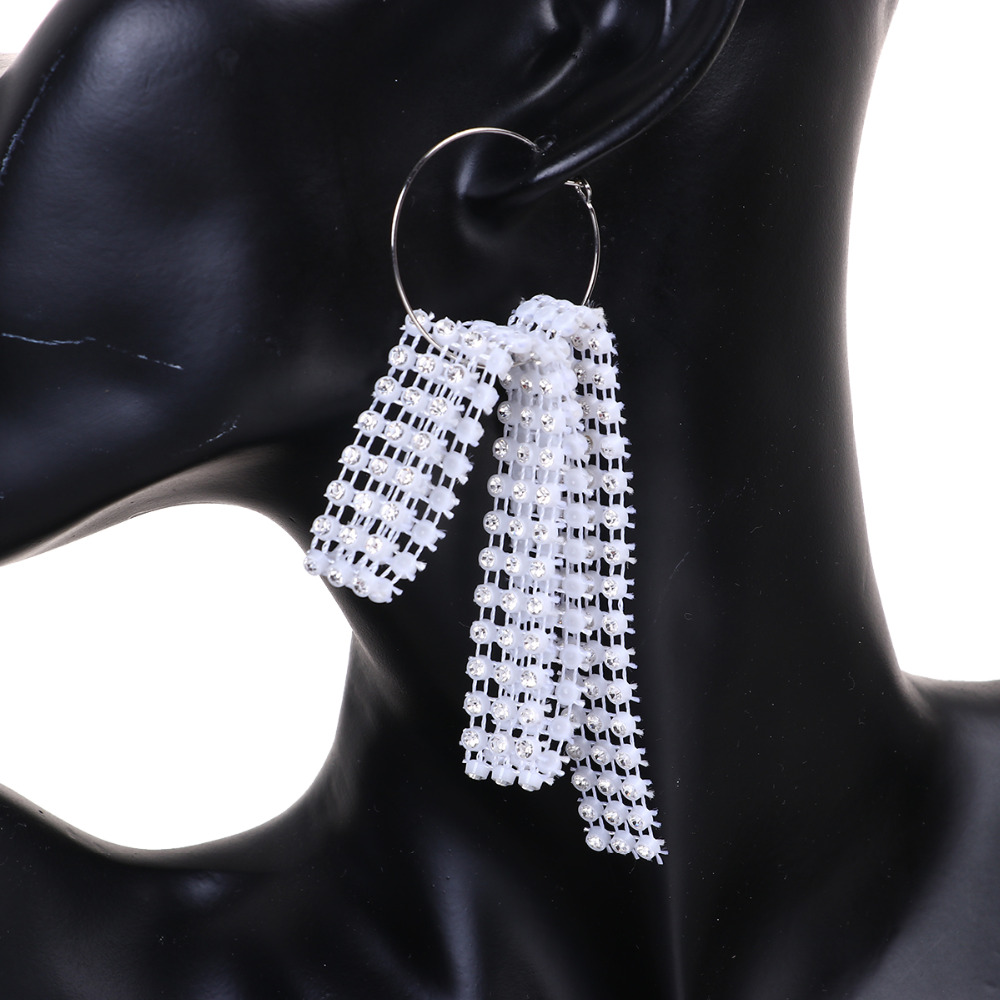 8seasons Women Fashion Plastic Mesh Jewelry Hoop Earrings Black White Clear  Rhinestone 16cm(6 2