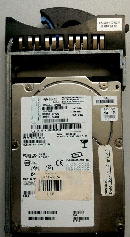 HUS103014FL3800 08K2475 17R6384 17R6390 147-GB SAS 3.5 U320 10K Hard Disk 1 year warranty