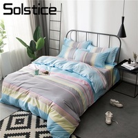 Solstice Home Textile King Queen Single Bedding Set Girl Kid Adult Woman Linen Blue Pink Stripe Duvet Cover Bed Sheet Pillowcase
