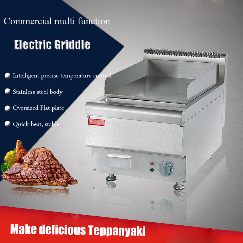 1PC FY-TP40 Commercial Stainless steel Electric Griddle Flat Pan Electric Grill Teppanyaki Dorayaki Griddle Machine
