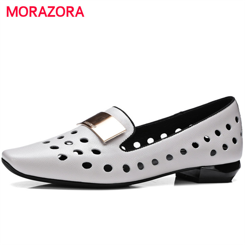 MORAZORA Four seasons single shoes woman fashion popular low heels shoes square toe solid genuine leather shoes women pumps