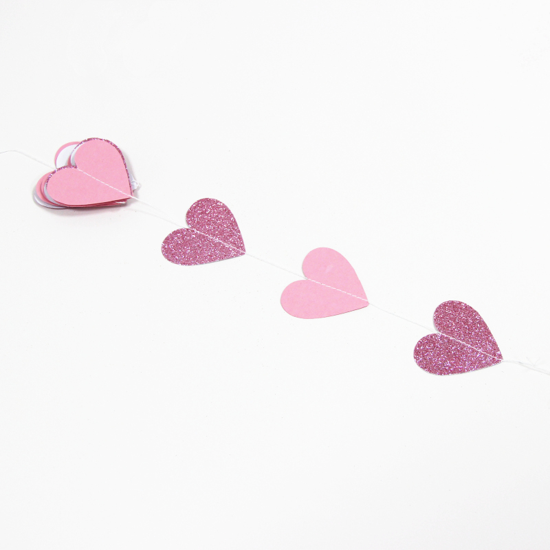 Glitter Heart Wedding Party Decoration Garland Backdrop Hanging Baby