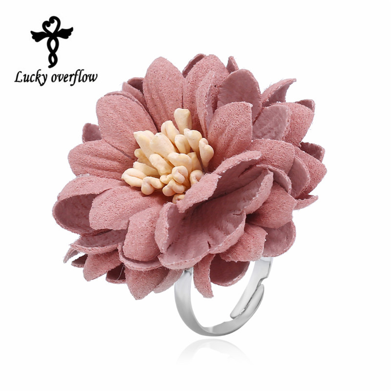 2018 New Fashion Exclusive Design Handmade Elegant Bohemian Style Ring Pink Color Fabric Ring Daisy Flower Ring For Women femme