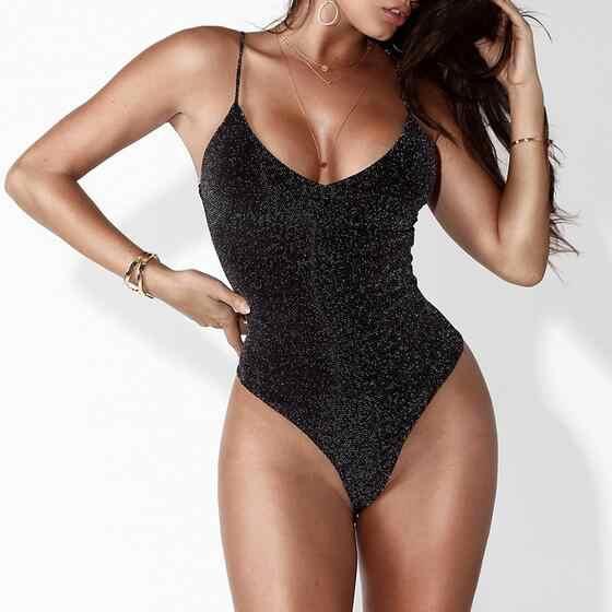 Clobee 2019 весенний черный комбинезон с глубоким v-образным вырезом без бретелек Женский облегающий сексуальный комбинезон боди для женщин DJ195