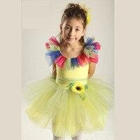 Colorful Flower Ballet Tutu Dresses For Children Girl Yellow Ballet Dancewear Classical Ballet Tutu Sugar Girl